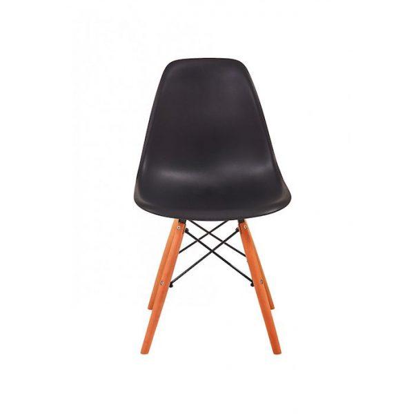 Scaun negru modern din plastic cadru fier picioare din lemn fara brate
