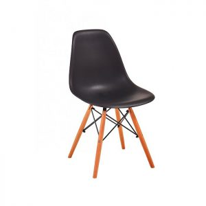 Scaun negru modern din plastic cadru fier picioare din lemn fara brate, profil