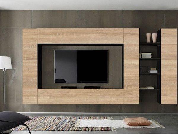 Set mobila living Modern PAL 5 Corpuri Maro Negru in living modern