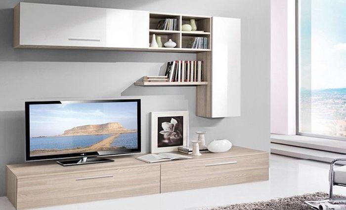 Set mobila living Modern PAL MDF 4 Corpuri Stejar Ferara Alb in Living