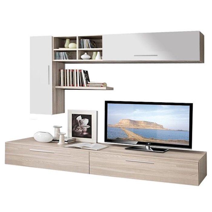 Set mobila living, Modern, PAL, MDF, 4 Corpuri, Stejar Ferara, Alb