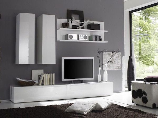 Set mobila living PAL MDF Alb Modern 5 corpuri, Living modern