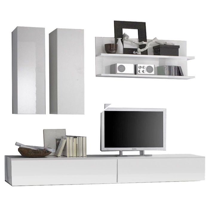 Set mobila living, PAL / MDF, Alb, Modern, 5 corpuri