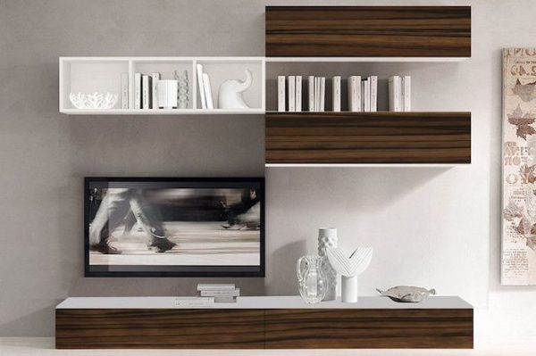 Set mobila living modern PAL MDF 5 Corpuri Maro Alb in living