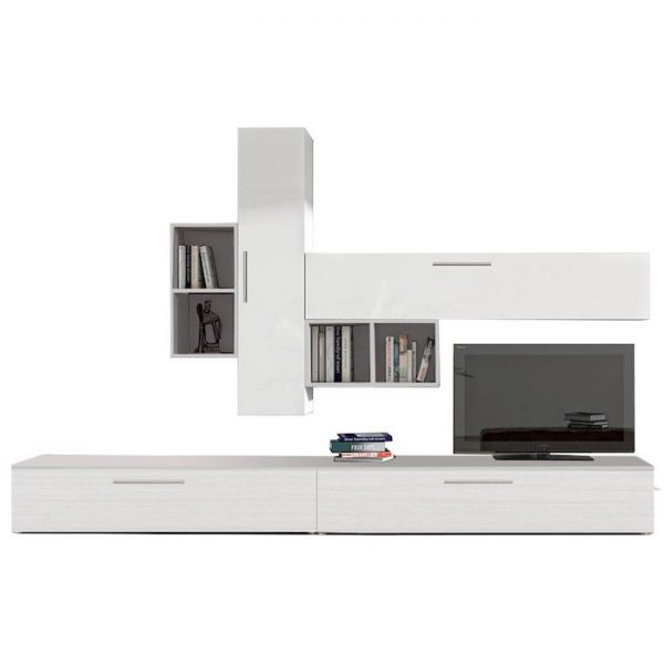 Set mobila living modern alb 6 corpuri din pal
