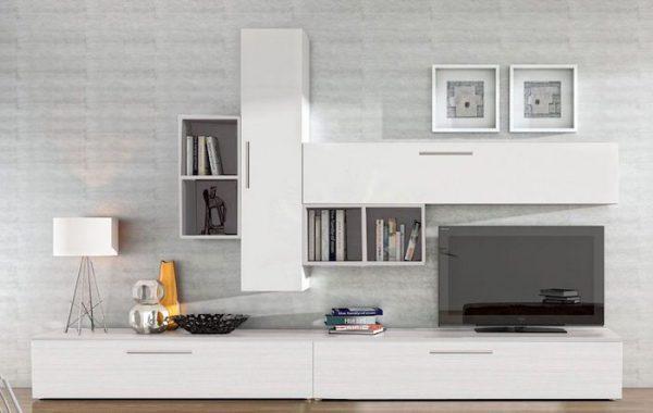 Set mobila living modern alb 6 corpuri din pal, living modern