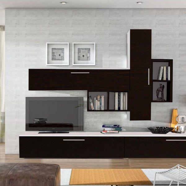 Set mobila living modern alb negru 6 corpuri din pal, sufragerie moderna