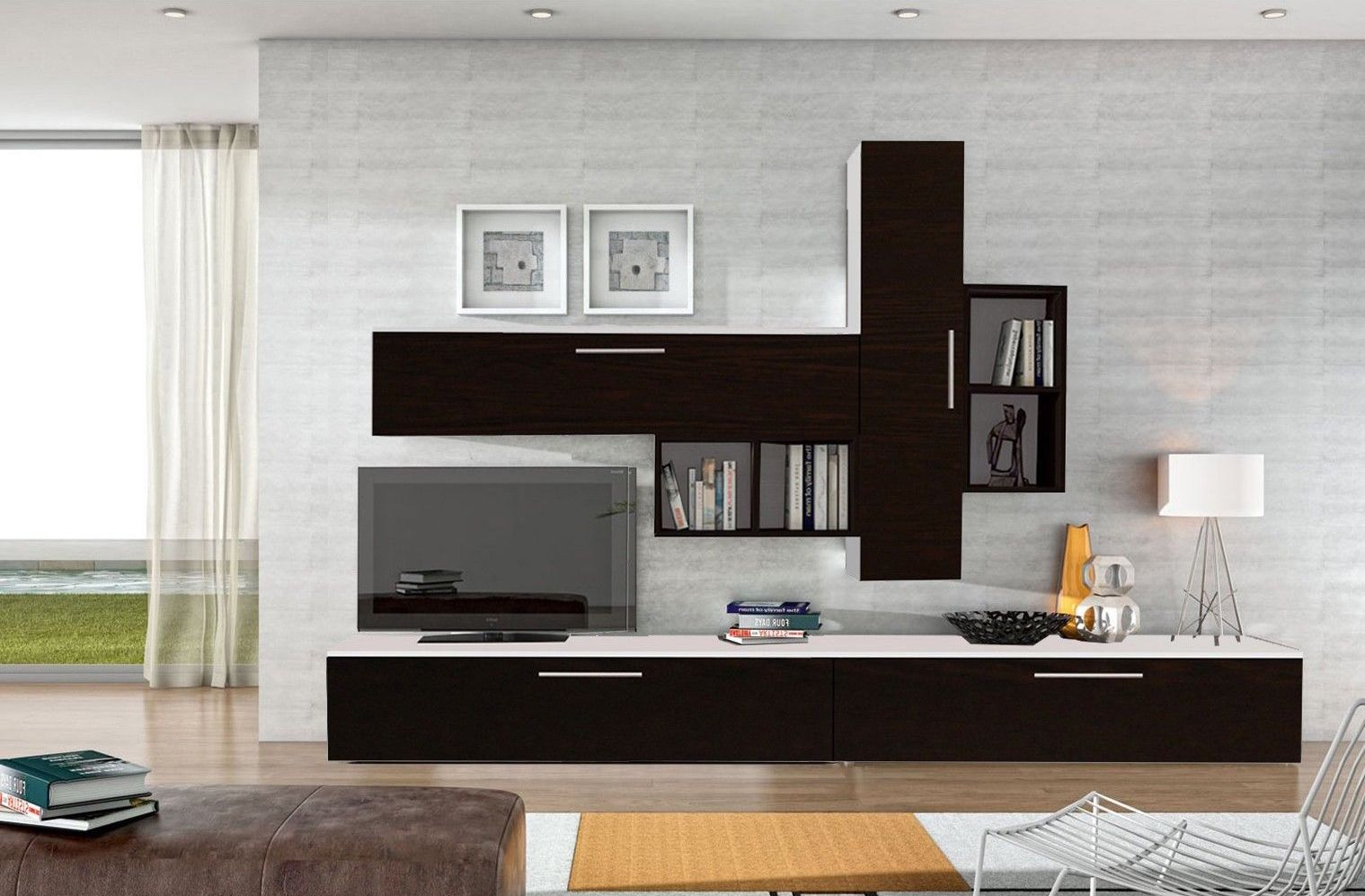 Set mobila living modern alb negru 6 corpuri pal for Mobila living moderna italiana