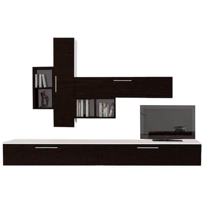 Set mobila living, Modern, Alb / Negru, 6 corpuri, PAL