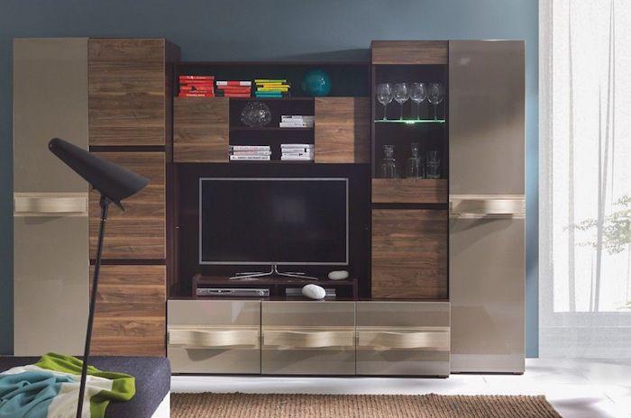 Set mobila living moderna LED PAL MDF Capucino Maro, Living modern