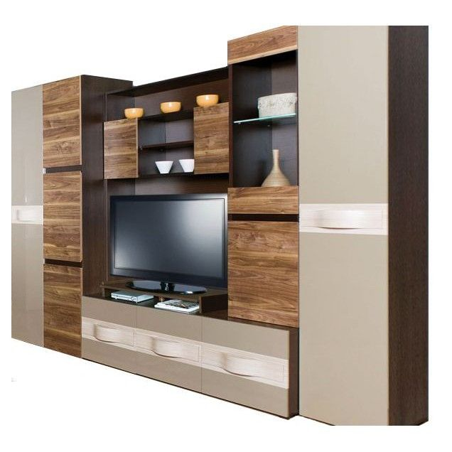 Set mobila living modern, LED, PAL / MDF, Capucino, Maro