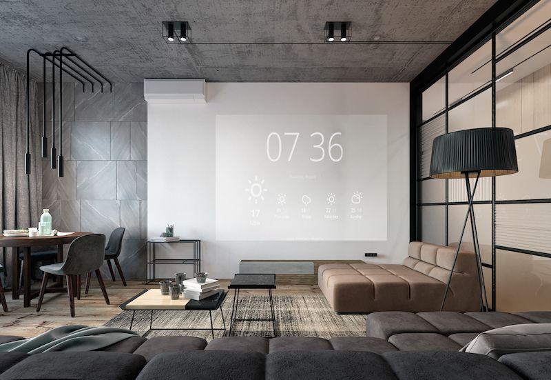 amenajare apartament living modern canapea video proiector