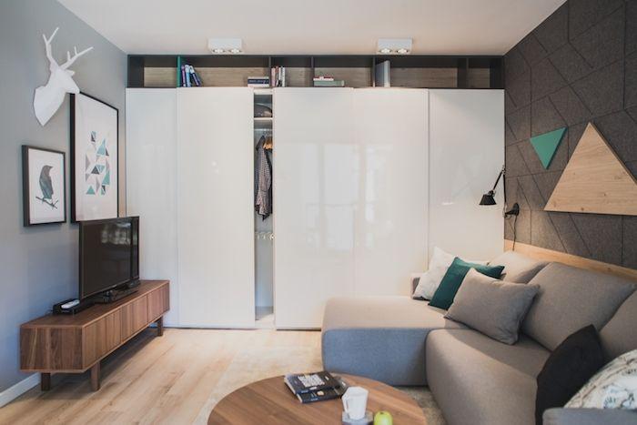 amenajare camera de zi moderna dulap mare alb canapea gri