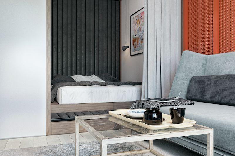 amenajare garsoniera dormitor cu living modern