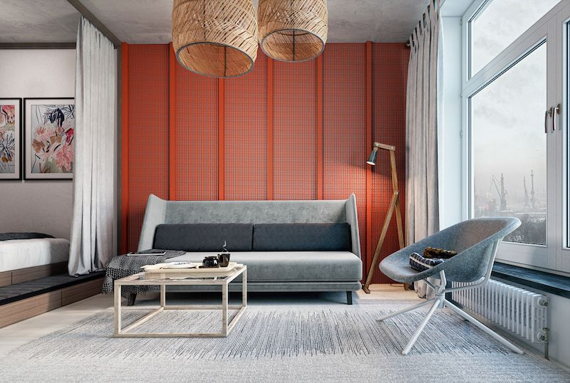 amenajare garsoniera moderna living scandinav perete rosu canapea fotoliu gri