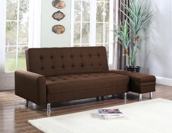 amenajare living canapea extensibila maro textila cu cutie pentru depozitat lucruri