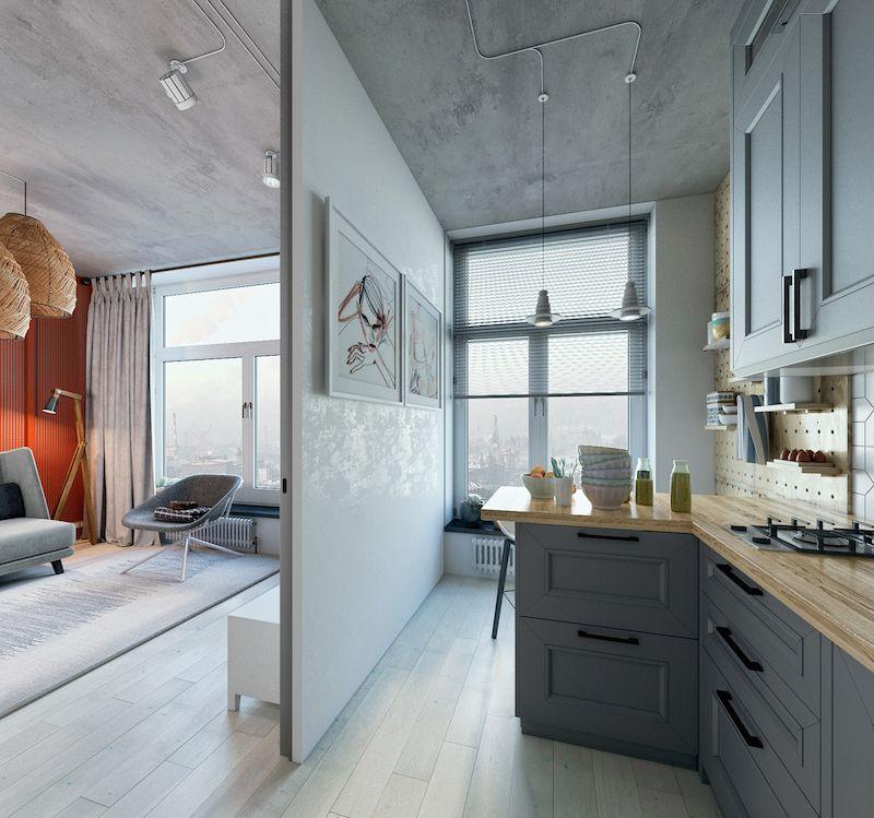 amenajare living cu bucatarie mobila gri garsoniera moderna 24 m2
