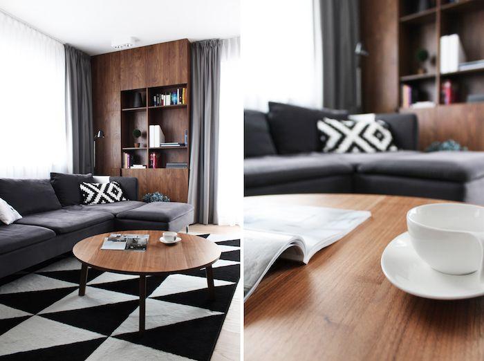 amenajare living mobila moderna canapea gri masuta living lemn