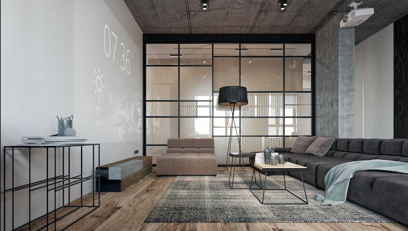 amenajare living modern canapea covor video proiector
