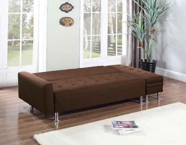 canapea extensibila maro textila cu cutie pentru depozitat lucruri canapea pat modern