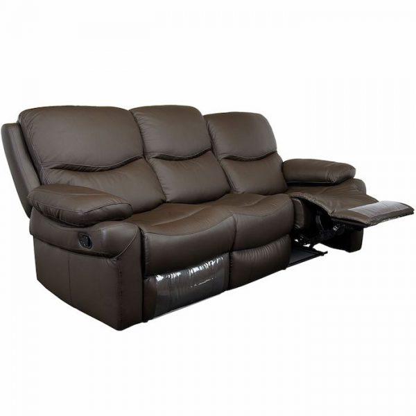 canapea living moderna maro 3 locuri 2 reclinere 220x98x100 cm