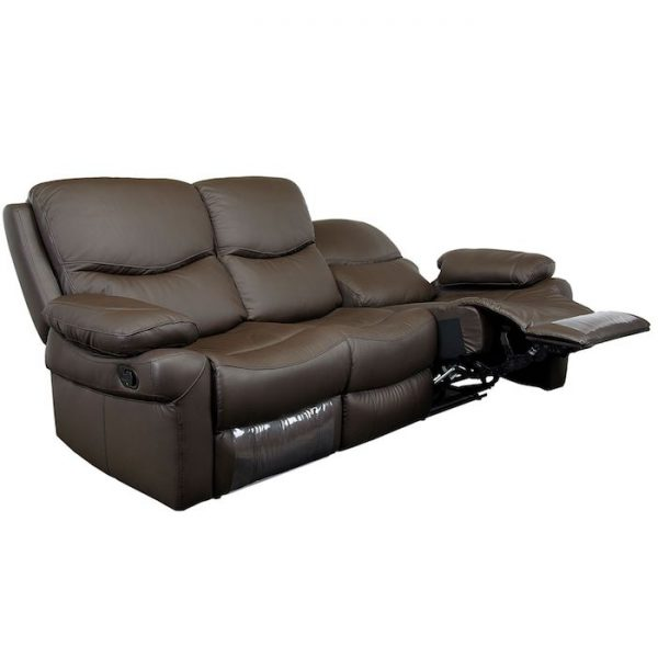 canapea living moderna maro cu balansoar 3 locuri 2 reclinere 220x98x100 cm