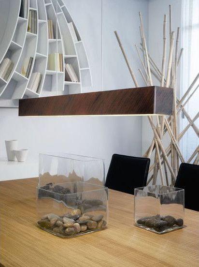 lustra maro moderna lunga din metal otel si din led perfecta pentru sufragerie