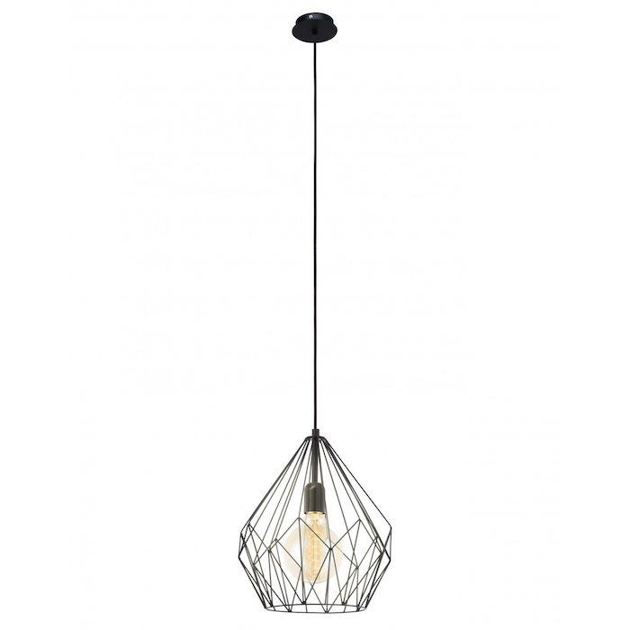 Lustra retro neagra, Design metal, Otel, LED