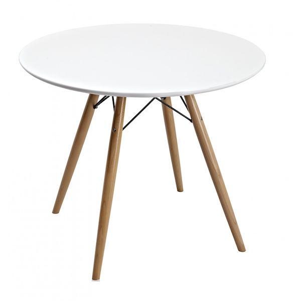 Masa rotunda alba, Moderna, Picioare din lemn si metal