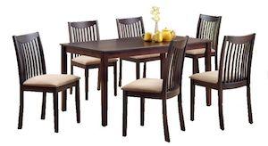 Set masa cu 6 scaune, LEWIS, lemn masiv, wenge