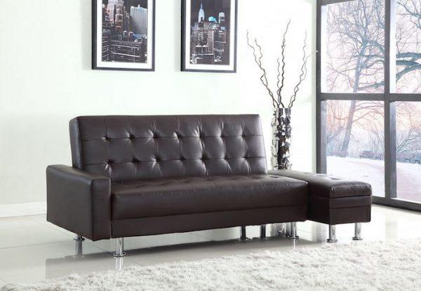 mobila living canapea extensibila neagra din piele ecologica cutie depozitat lucruri