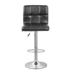 scaun de bar cromat piele negru modern crom inox