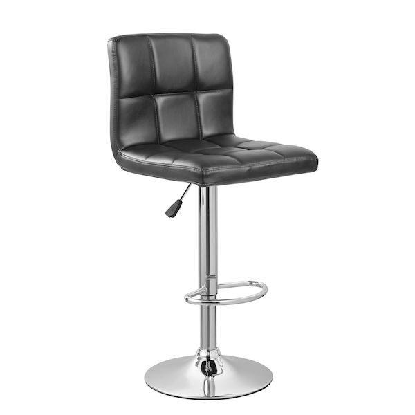 scaun de bar cromat piele negru modern perfect pentru baruri