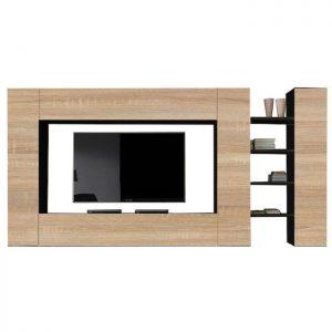 Set mobila living modern cu etajere si rafturi 5 corpuri maro