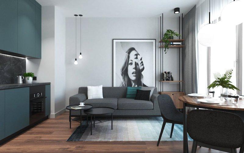 amenajare apartament 2 camere mic poze living modern cu bucatarie