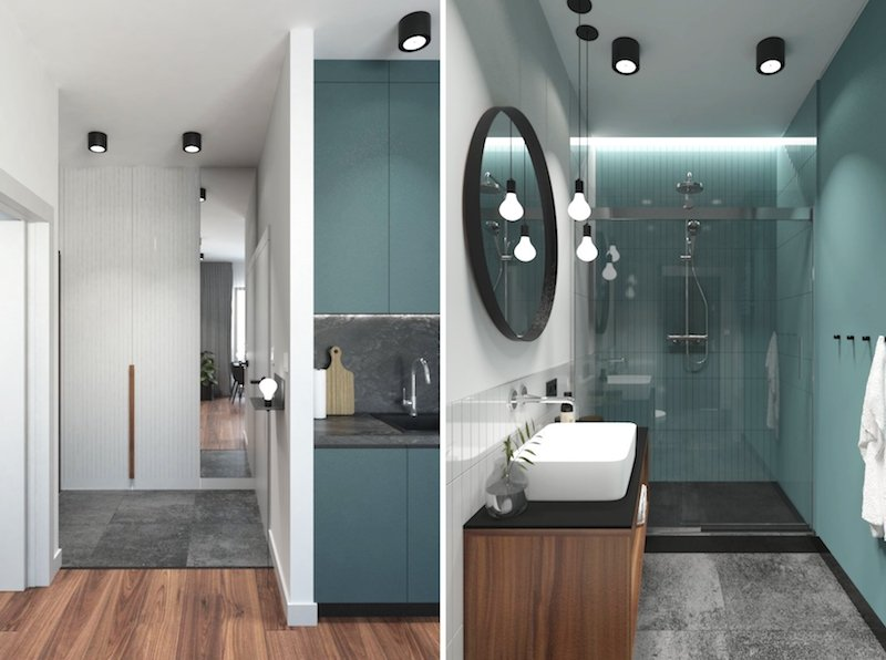 amenajare baie moderna dus mare mobilier baie cu lavoar