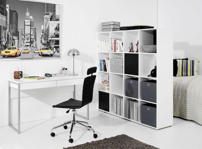 amenajare birou acasa in dormitor masa birou alba scaun birou