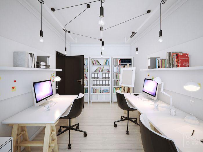 amenajare birou acasa mare dublu masa birou mare alba scaune birou