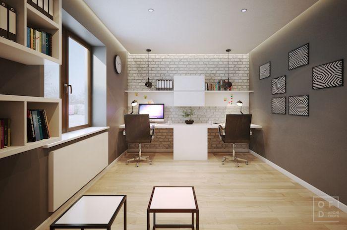 amenajare birou acasa mare dublu mobilier birou alb parchet luminos