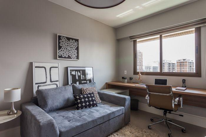 amenajare birou acasa mobilier birou scaun modern canapea gri