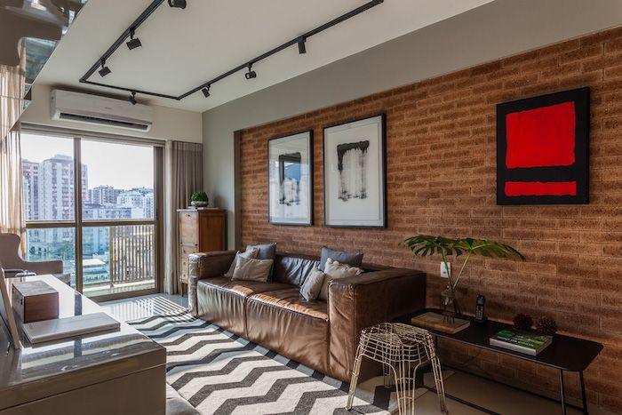 amenajare living modern canapea piele maro apartament trei camere modern