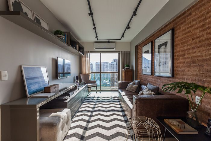 amenajare living modern in apartament modern cu trei camere