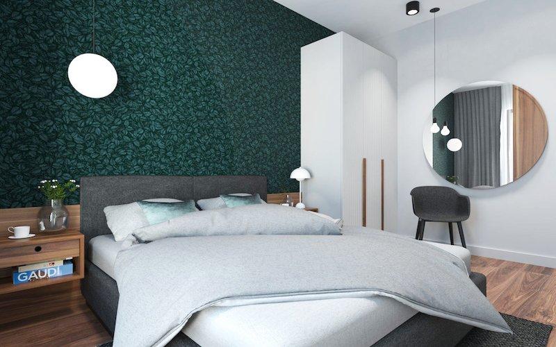 amenajari apartamente 2 camere mici dormitor modern cu tapet