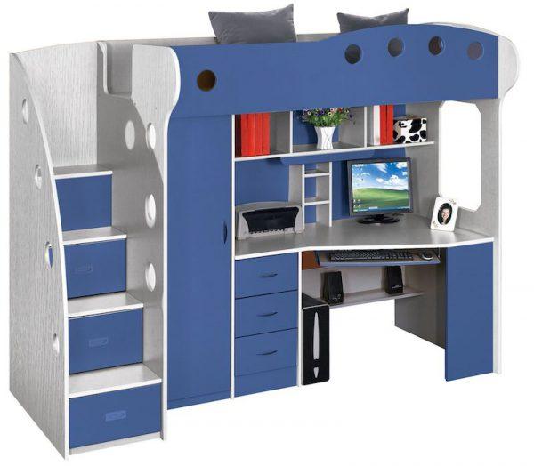dormitor copii multifunctional albastru pat copii birou copii mobilier copii