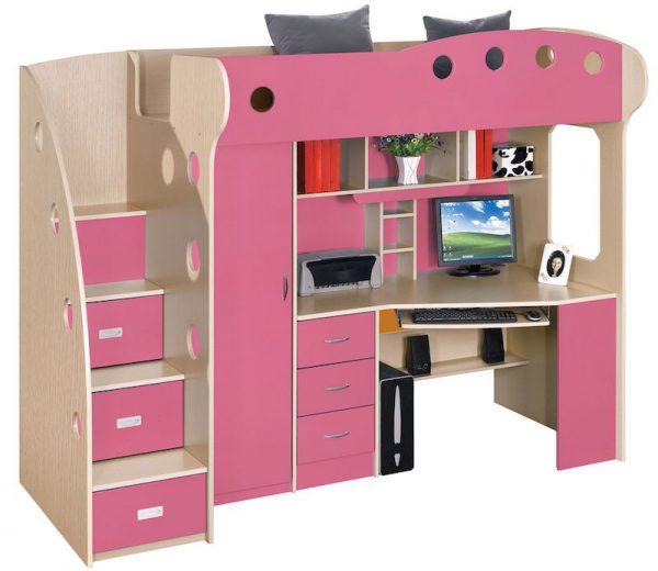 dormitor copii multifunctional roz pat copii birou copii mobilier copii