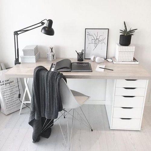 idee amenajare birou acasa alb