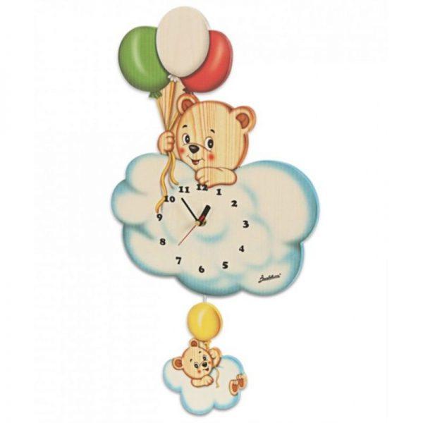 Ceas din lemn cu model urs pentru copii