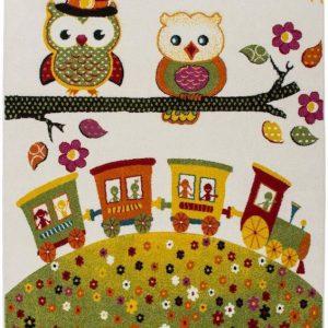 Covor colorat pentru copii camera copii bufnita trenulet 160 x 230 cm