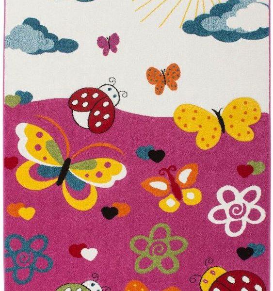 Covor colorat pentru copii covor camera copii fluturi mamarute 120 x 170 cm