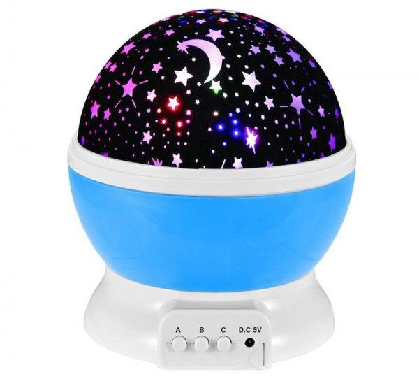 Lampa proiector pentru copii 360 grade luna stele camera de copii